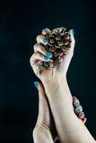 Mão com os pregos bonitos no fundo preto Imagem de Stock