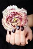 Mão com os pregos manicured curtos coloridos com verniz para as unhas e a flor roxos escuros Imagem de Stock Royalty Free