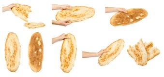 Mão com pão, grupo e coleção do lavash imagem de stock
