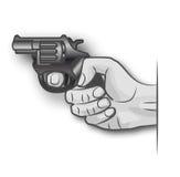 Mão com revólver Imagem de Stock