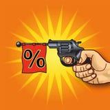 Mão com revólver e porcentagens Imagem de Stock