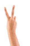 Mão com sinal da paz ou da vitória Fotografia de Stock