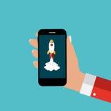 Mão com telefone celular e o Rocket abstratos como começam acima molde ilustração royalty free