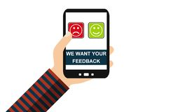 Mão com telefone celular: Nós queremos seu feedback - projeto liso ilustração stock