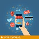 Mão com telefone Compra em linha Imagem de Stock