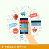 Mão com telefone Compra em linha, telefone a comprar Pagamentos móveis Imagem de Stock Royalty Free