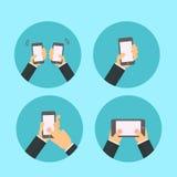 Mão com telefone - infographics Fotos de Stock Royalty Free