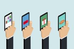 Mão com telefone jogo Comprando sobre o Internet, alimento pedindo ilustração stock