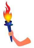 Mão com tocha flamejante ilustração do vetor