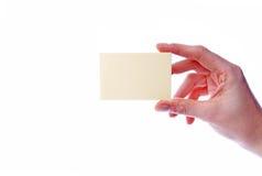 Mão com um cartão Imagens de Stock Royalty Free