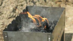 A mão com um fósforo ardente inflama o carvão vegetal filme