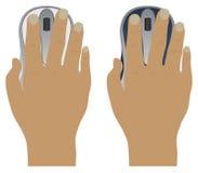 Mão com um rato do computador Fotografia de Stock