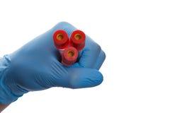 Mão com um tubo de ensaio Imagem de Stock Royalty Free