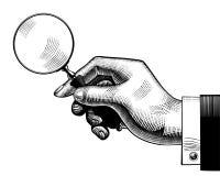 Mão com uma lupa velha ilustração do vetor