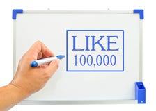 Mão com uma pena que desenha um whiteboard Foto de Stock