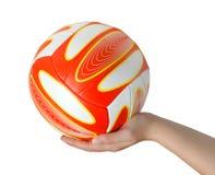 Mão com voleibol Fotografia de Stock Royalty Free