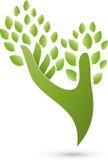 Mão como um logotipo da árvore, da planta, do naturopath e do bem-estar Foto de Stock Royalty Free