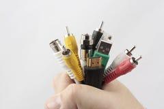 Mão completamente de cabos das telecomunicações Imagem de Stock Royalty Free