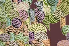 Mão conceptual abstrata formas tiradas misturadas ou do mutiple Detalhes, colorido, criativo & repetição ilustração do vetor