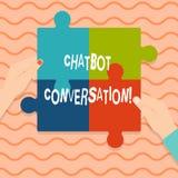 Mão conceptual que escreve mostrando a conversação de Chatbot Conversa apresentando da foto do negócio com o artificial assistent foto de stock royalty free
