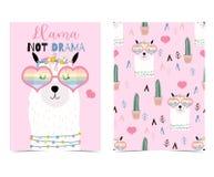 Mão cor-de-rosa cartão bonito tirado com lama, vidros do coração e cacto Ll Fotografia de Stock