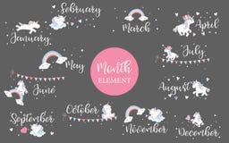 Mão cor-de-rosa elemento tirado do mês com arco-íris, bandeira, unicórnio, estrela e fotos de stock