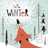 Mão criativa cartão tirado por feriados de inverno Foto de Stock Royalty Free