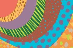 Mão criativa do fundo da arte tirada em cores vibrantes collage Vetor Texturas para o cartaz do convite da tampa do cartão do car ilustração stock