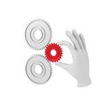 a mão 3d humana branca guarda a engrenagem (a roda denteada) ilustração 3D Vagabundos brancos Imagens de Stock Royalty Free