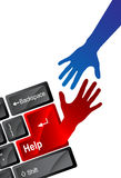Mão da ajuda da tecnologia ilustração stock