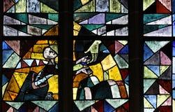 Mão da ajuda no vidro manchado Fotografia de Stock Royalty Free