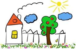 Mão da casa dos desenhos animados do vetor tirada Ilustração com casa, árvore, Fotos de Stock Royalty Free