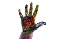 A mão da criança é aquarelas pintadas no fundo branco Imagens de Stock Royalty Free