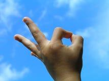 Mão da criança do gesto da aceitação Fotos de Stock Royalty Free