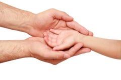Mão da criança e do adulto Imagem de Stock Royalty Free