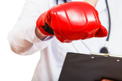 Mão da enfermeira na luva de encaixotamento Foto de Stock