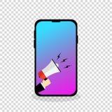 Mão da exibição do telefone celular com o megafone que anouncing ilustração stock
