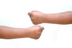 Mão da jovem mulher isolada no fundo branco Foto de Stock