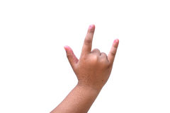 Mão da jovem mulher isolada no fundo branco Fotos de Stock Royalty Free