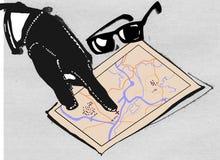 Mão da máfia e do mapa Fotos de Stock