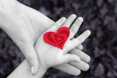 A mão da mãe e do bebê com coração vermelho imagem de stock