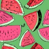 Mão da melancia tirada ilustração stock