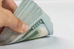 Mão da mulher com dólares foto de stock royalty free
