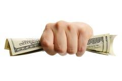 Mão da mulher com 100 notas de dólar Imagem de Stock