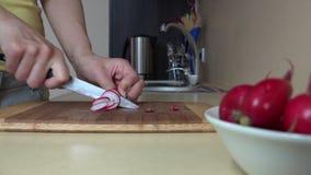 A mão da mulher cortou vegetais do rabanete na placa de corte para a salada 4K filme