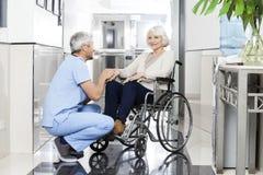 A mão da mulher de Holding Smiling Senior do fisioterapeuta em Wheelchai fotografia de stock royalty free