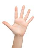 A mão da mulher mostra os cinco Fotografia de Stock Royalty Free