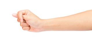 Mão da mulher no punho isolado no branco Fotos de Stock