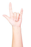 Mão da mulher no sinal do amor Imagens de Stock Royalty Free