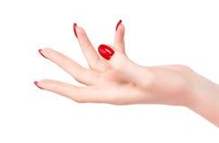 Mão da mulher nova fotos de stock